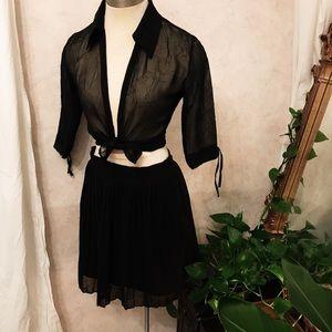 Black chiffon mini skirt xs